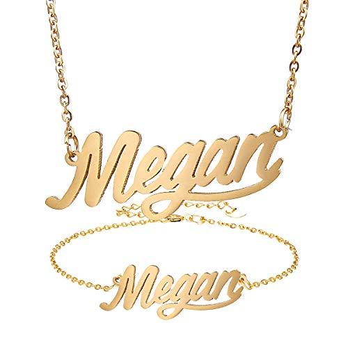 AIJIAO Personalized Name Necklace + Name Bracelet Set for Women Nameplate Pendant Gift -Megan Gold Set