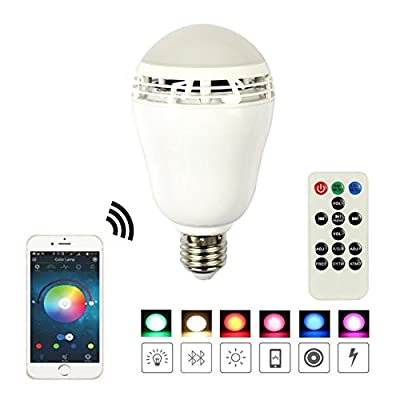 MagicLight Harmony Bluetooth LED Bulb with Speaker - Smartphone Control - Dimmable Multicolored Color Changing Lights - Works with iPhone, iPad, Android Phone and Tablet - with Backup Remote Control