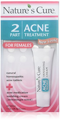 Nature's Cure 2 Part Acne Treatment for Females 60 tablets 1 oz Cream (Pack of 3)