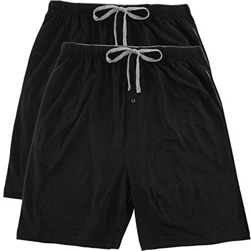 Knit Boys Shorts (Hanes 2 Pack Men's Sleep Shorts With Pockets Drawstring Tagless Sleeping Shorts Cotton Loungewear)