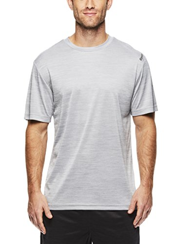 - Reebok Men's Supersonic Crewneck Workout T-Shirt Designed with Performance Material - Light Grey Ash Space Dye, Small