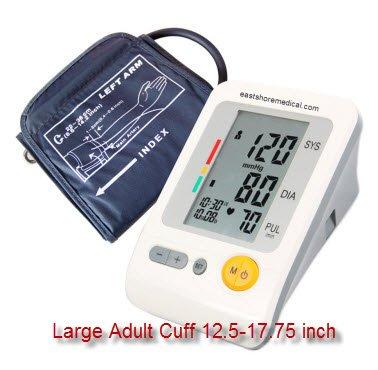 Eastshore Bras moniteur de pression artérielle numérique avec brassard large supplémentaire (conçu pour les grandes personnes). 120 mémoire, irrégulière détecteur de Heart Beat, LCD Jumbo