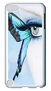 Brian114 Case, iPod Touch 5 Case, iPod Touch 5th Case Cover, Blue Butterfly Eyes Retro Protective Hard PC Back Case for iPod Touch 5 ( white )