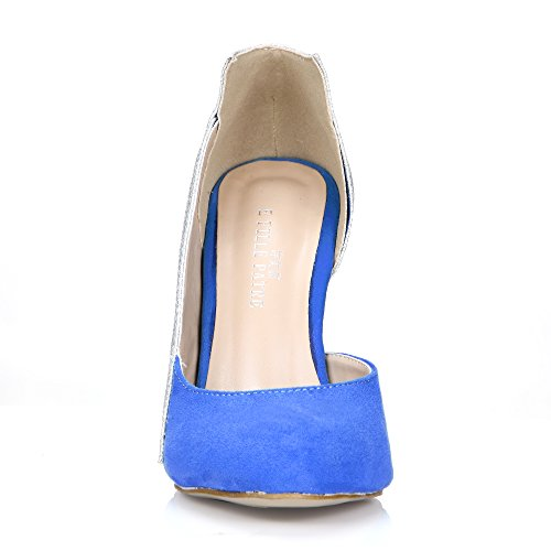 Casual SM00024 Shoes Blue Patent Silver blue 11CM Women Dress High Stiletto Dolphin Fashion Pumps Heel Evening qFawSa