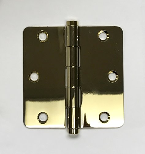 Solid Brass Door Hinges - 3 1/2' x 3 1/2' - Lifetime Polished Brass