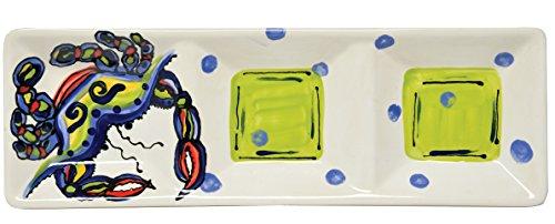 Thompson   Elm Dana Wittmann Ceramic Crab Divided Appetizer Tray  Multicolor
