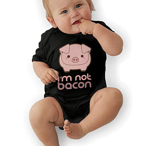 I'm Not Bacon Funny Pig Baby Clothes Newborn Boys Girls Short-Sleeve Creeper Jumpsuits Rompers Black ()