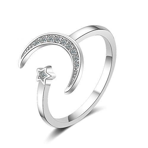 925 Sterling Silver CZ Moon and Star Charm Open Ring for Women Girls Jewelry,Adjustable Size 6-10