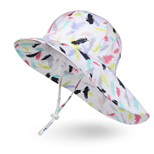 - Ami&Li Baby Kids Summer Flap Cover Cap Cotton Anti-UV UPF 50+ Sun Hat - L: Feather Petals