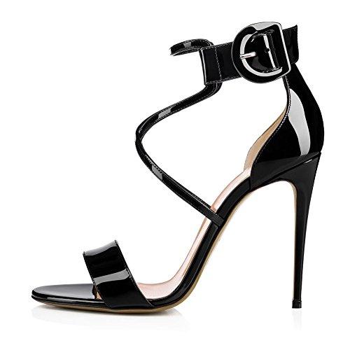 Blanc Pu Transversale Sandales Pompe Bout Femmes Black Noir Banquet Rouge Talon Sqy Haut Courroie Ouvert Robe gqB7n5