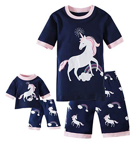 Shorts Kids & Toddler Pajamas Matching Doll & Girls Pajamas 100% Cotton Unicorn Pjs Set Size 4 Fits American Girl