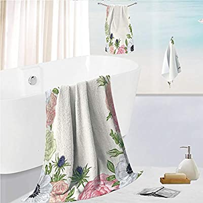 iPrint Bath Towel 3 Pieces Hand Towels Set Microfibe Customized Bath Towel Combination,Inspired Framework with Pastel Colored Flora,Customized Bath Towel Combination Quick Drying & Super Absorbent