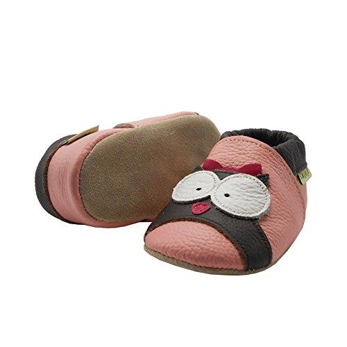 Sayoyo Suaves Zapatos De Cuero Del Bebé Zapatillas Búho Rosa