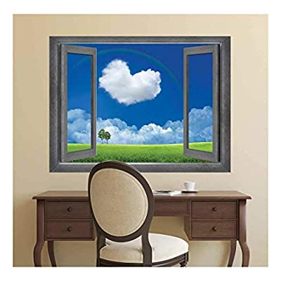 Open Window Creative Wall Decor - Love is in The Clouds - Wall Mural, Removable Sticker, Home Decor - 24x32 inches