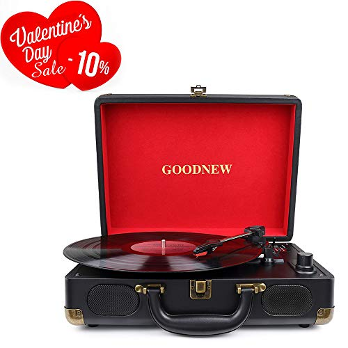 GOODNEW Vinyl Record Player Turntable, 3-Speed Portable Stereo Turntable with Built in Speakers,Support Headphone & RCA Output and AUX Input Jack (Black)