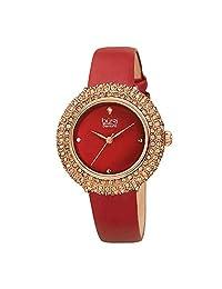 Burgi® BUR227 - Reloj de pulsera con correa de piel acentuada con cristales de Swarovski y diamantes en una bonita caja de regalo, Burgundy