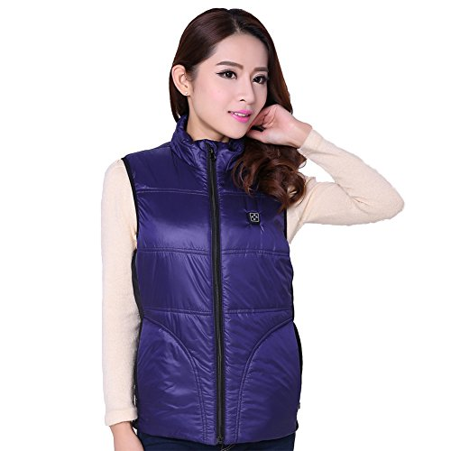 OUBOHK Heated Clothing Women's Thick Winter Vest Electric Heating Waistcoat Large Blue