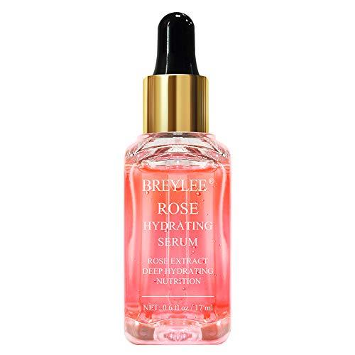 Rose Face Serum, BREYLEE Hydrating Serum Moisturizing Serum Face Serum Hydrating with Hyaluronic Acid Alcohol Free…