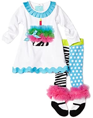 Baby-girls Newborn Zebra Tunic and Tight Set