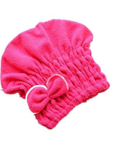 Retractable Comfort 1 Cord Long (Bessyn 1 PC Coral Fleece Hair Hat Wrap Quick Dry Absorbent Superfine Fiber Soft Comfortable Bath Cap for Beach Swim Travel Gym,Solid Color Thickened Towel Hair Hat for Girl (Hot Pink))