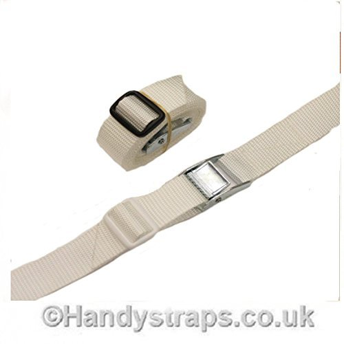 White Med Luggage Trailer tie down CAM BUCKLES CAR Roof Rack straps 2 x 25mm 1.5 meter