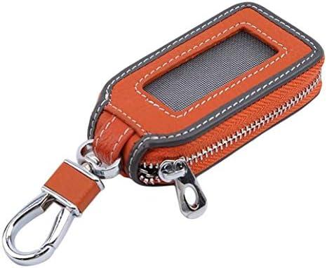 車のキーケース、男性と女性のための適切な金属フックとジッパー付きユニバーサルPUレザー自動キーホルダー保護スマートキーチェーン (Color : Orange)