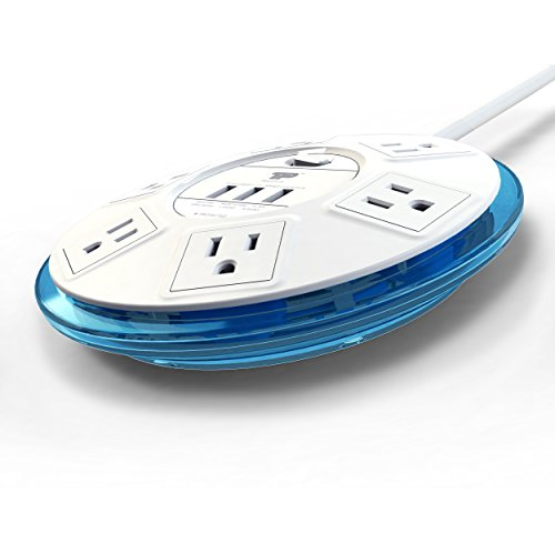 TP UFO Slim Design 6-Outlet Clear-Blue Round Power Center, 3 Quick Charging USB Ports, 4-Ft Heavy Duty Power Cord, Tabletop Surge Protector EMI-/RFI-Filter, for Home Office UL Listed (SRA21PLUS) by TP (Image #3)'