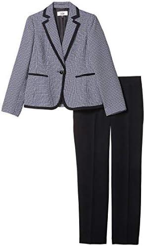 Le Suit Women's 1 Button Notch Collar Plaid Tweed Slim Pant Suit