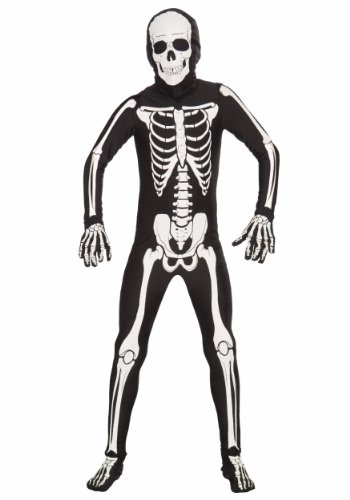 Forum Novelties I'm Invisible Costume Stretch Body Suit, Skeleton, Child Medium -