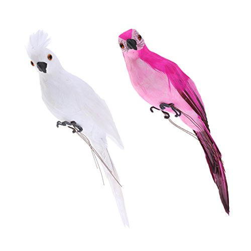 2X Realistic Macaw Parrot Rose Red & White Lifelike Bird Ornament Artificial Feathered Animal Model Statues DIY Lawn Sculpture Planter Tree Decor