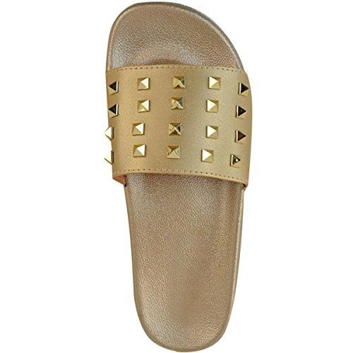 Con Damas Plana Zapatillas Fashion Metálico Números Deslizamiento Sandalias Oro Tachuelas Diseñador Espárragos oro Thirsty En Deslizables Mujer Desliza xIqCwUYC4