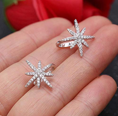 1Pcs Fashion Women Silver&Rose Gold Star Ear Cuff Micro Pave CZ Zircon No Hole Small Sized Girl Clip Earring Cuff Korean (Silver)