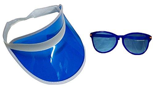 Blue Clear Visor Goofy Jumbo Sunglasses Fun Clown Beach Hat Costume - Glasses Goofy Big