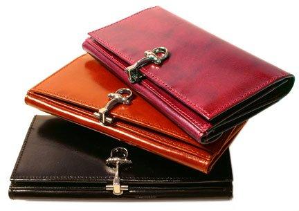 Floto Firenze Full Grain Leather Checkbook Clutch Wallet in Black by Floto