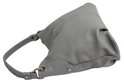 sac fourre à sac femme bandoulière à AMBRA Moda tout Sac cuir véritable GL012 Gris Sac à main bandoulière qwPwz87