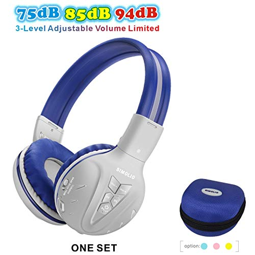 SIMOLIO Kids Bluetooth Headphone with 75dB/85dB/94dB Volume Limited, Children's Wireless Headsets with Mic,Wireless…
