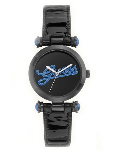 Guess Womens Montre Trend Iconic Style Blue LOGO Crystal Accented Black Leather Watch U0057L5