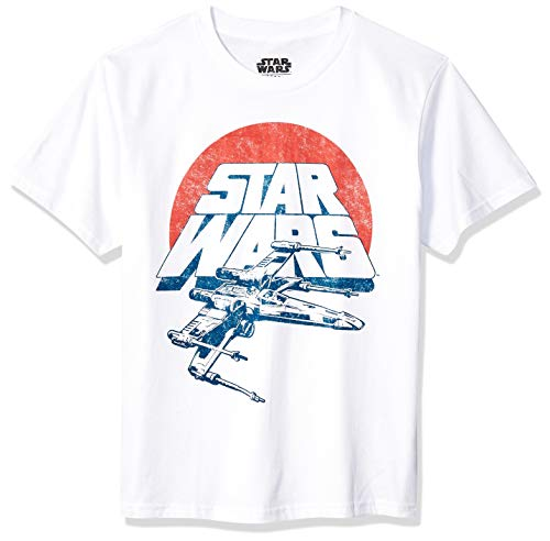 Star Wars Boys' Big Vintage Inspired X-Wing Fighter T-Shirt, White, Extra Small]()