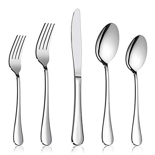 Silverware Set Service for 2, E-far 10-Piece Stainless Steel Flatware Set Cutlery Set, Include Knife/Fork/Spoon, Simple…
