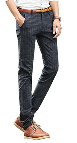XTX Mens Korean Slim Fit Plaid Straight Fit Casual Dress Pants Black 30