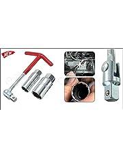 K & F Estable T Mango de Juego de herramientas con 16mm + 21Mm nogal Bujía Llave vaso para cambio de vela en automóviles Motocicletas ATV Quad