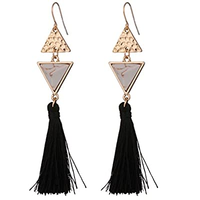 top Black Tassel Earrings with Geometric Shapes Available in 2 Colors (White and Blue) for sale