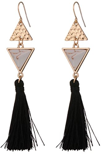 Black Tassel Earrings with Geometric Shapes Available in 2 Colors (White and Blue)