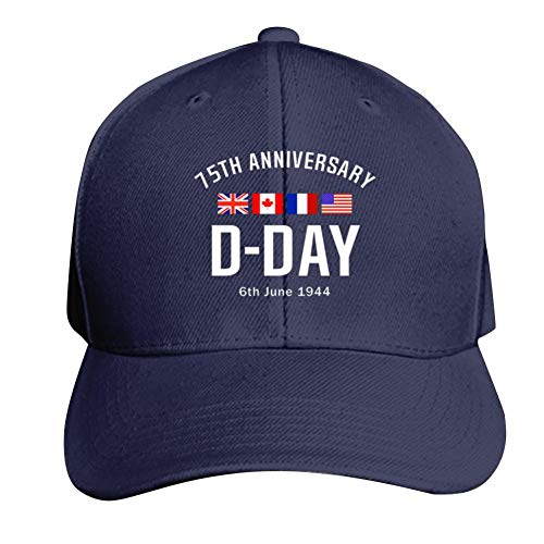D-Day 75th Anniversary America Flag Base-Ball Cap & Hat for Men or Women Navy
