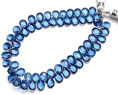 Fine Quality Gems Faceted Pear Beads Side Drilled Sold per 5 pieces. Size 5-6 MM Blue Topaz Pear Faceted Briolette Beads