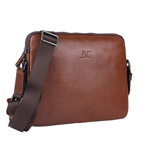 Banuce Small Vintage Leather Menssenger Bag for Men Shoulder Crossbody Bag Brown by Banuce (Image #1)