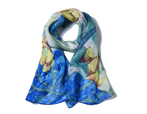 Invisible World Women's 100% Mulberry Silk Scarf Long Hand Painted Blue Flower
