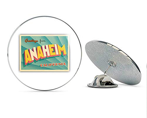Anaheim City USA Vintage Greeting Label Round Metal 0.75