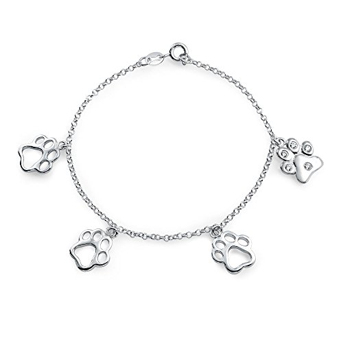 925 Silver CZ Dangling Paw Print Animal Charm Bracelet 7in by Bling Jewelry