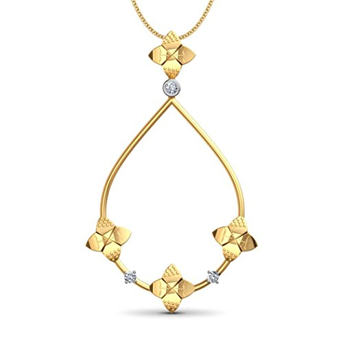 14 K Or jaune 0,03 CT TW Round-cut-diamond (IJ | SI) Pendentif